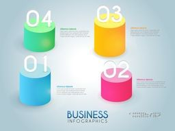 3D colorful infographic elements with numbers, Can be used as workflow layout, diagram, business reports and presentation.