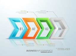Colorful 3D infographic elements in arrow shape for Business concept.