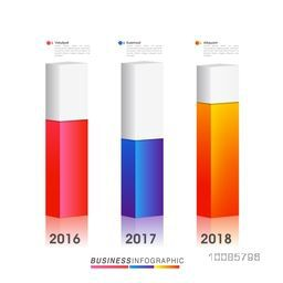 3D infographic statistical bar chart showing year wise growth. Can be used for workflow layout, diagram, business reports and financial data presentation.