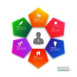 Glossy colorful infographic elements on white background for Business reports and presentation.