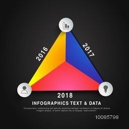 Colorful infographic triangle showing year wise growth, Can be used for workflow layout, diagram, business reports and presentations.