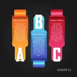Colorful glossy infographic elements with alphabets for Business concept.