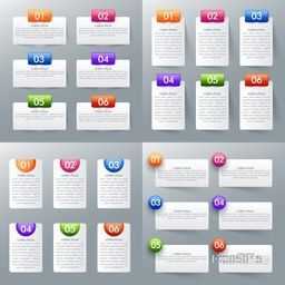 Big set of infographic template with number option for business concept.