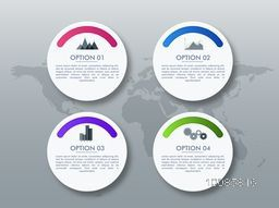Creative infographic elements layout in circle shape with four options, Can be used for workflow layout, number options, diagram and presentation.