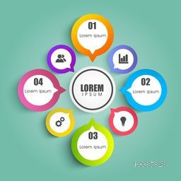 Creative infographic elements in speech bubble shape for Business concept.