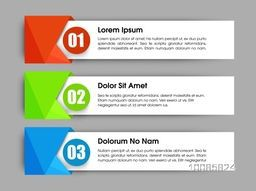 Creative infographic banner set with numbers for business reports, presentation, workflow layout, diagram. Vector illustration.