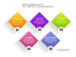 Colorful infographic elements with numbers on white background for Business reports and presentation.