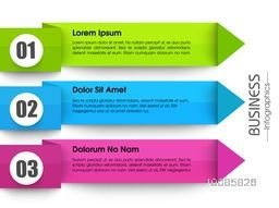 Colorful infographic arrow banners for business reports, presentation, diagram and workflow layout.