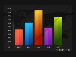 Colorful infographic statistical bar chart showing year wise growth. Can be used for workflow layout, business reports and financial data presentation.