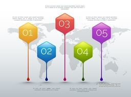 Colorful infographic pointers with number option on world map background for business concept.