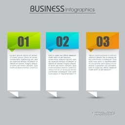Creative business infographic elements with number option on grey background, Can be used for workflow layout, diagram, web design etc.