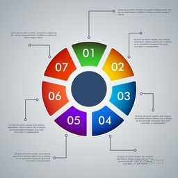 Colorful business infographic circle with numbers, Can be used for workflow layout, banner, diagram, charts and presentation etc.