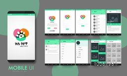 Creative Material Design UI, UX, GUI layout for e-commerce, responsive website and pet adoption mobile apps including Welcome, Sign-Up, Login, My Pets, Animal Category, Chat, Filter, Other Services, and Favorites Screens.