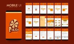 Material Design UI, UX, GUI screens for Food (Pizza) Mobile Apps, responsive website with Menu, Select Pizza, Pizza Type, Confirmation Details, Delivery Address, Payment Option and Placed Order Features.