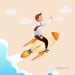 Young businessman flying on rocket, Creative vector illustration for Business Start Up concept.