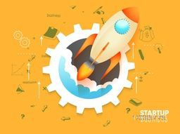Creative rocket flying out from gear symbol, Vector illustration for New Business Start Up concept.