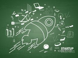 Flat style illustration of flying rocket with other elements on green background for Business Start Up concept.