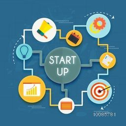 Business Start Up concept with various elements, Creative vector illustration.