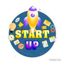 Glossy Rocket with other elements, Vector illustration for New Business Project Start Up concept.
