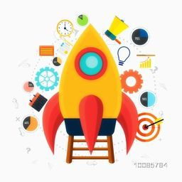 Glossy Rocket with other elements, Creative vector illustration for New Business Project Start Up concept.