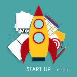 Creative Rocket with other elements, Vector illustration for New Business Project Start Up concept.