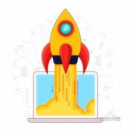 Creative Rocket flying out from desktop, Vector illustration for New Business Project Start Up concept.