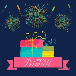 Image of wrapped gift packs in bright pink, blue and yellow colour with sparkling crackers in the sky in many colors and with small stars.