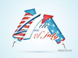 American Flag color rockets with stylish text 4th of July on shiny background for Independence Day celebration.