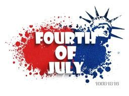 White text Fourth of July on red and blue color splash background, Poster, Banner or Flyer design for American Independence Day celebration.