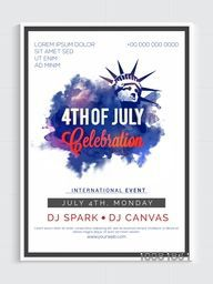 Creative Template, Banner or Flyer design with Statue of Liberty for 4th of July, American Independence Day celebration.