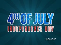 Creative text 4th of July, Independence Day on rays background, Can be used as poster, banner or flyer design.