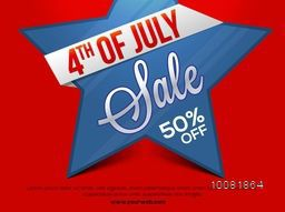 4th of July Sale, Sale Poster, Sale Banner, Sale Flyer, Sale Tag, Sale Background, 50% Discount Offer. Vector illustration with big star on red background.