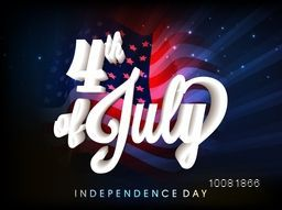 Creative glossy 3D text 4th of July on waving American Flag background for Independence Day celebration concept.