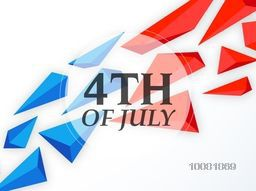 Stylish text 4th of July on blue and red abstract design decorated background, Can be used as poster, banner or flyer for American Independence Day celebration.