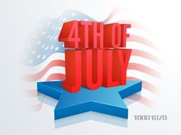 Glossy red 3D text 4th of July on blue star, Creative waving American Flag background for Independence Day celebration concept.