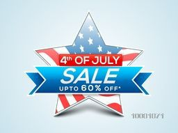4th of July Sale, Sale Tag, Sale Paper Banner, Sale Poster, Sale Flyer, Upto 60% Off. Creative vector illustration with star in American Flag colors for Independence Day concept.