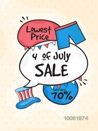 Lowest Price Sale Template, Banner or Flyer design with 70% Discount Offer for 4th Of July, American Independence Day celebration.