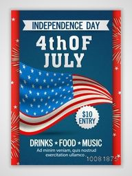 Creative Pamphlet, Banner or Flyer design with American Flag for 4th of July, Independence Day Party celebration.