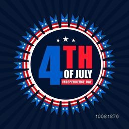 Creative Badge design with American Flag colors text 4th of July on blue rays background for Independence Day celebration.