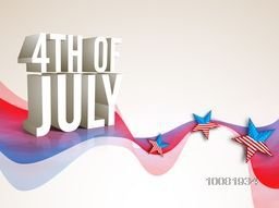 Glossy 3D text 4th of July with American Flag color stars on abstract waves for Independence Day celebration.