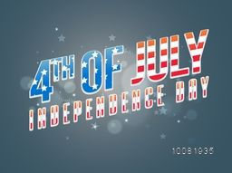 American Flag colors text 4th of July on shiny stars decorated background, Creative Poster, Banner or Flyer design for Independence Day celebration.