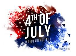 Stylish text 4th of July on abstract brush strokes decorated background. Creative Poster, Banner or Flyer design for American Independence Day celebration.