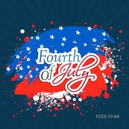 Stylish text Fourth of July on abstract flag colors background for American Independence Day celebration.