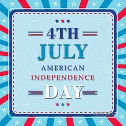 Stylish Text 4th July, American Independence Day in National Flag colors, Can be used as Poster, Banner or Flyer design.