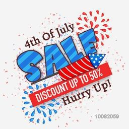 4th of July Sale Poster, Sale Banner, Sale Flyer, Discount upto 50%, Creative illustration with firecracker in American Flag colors for Independence Day.