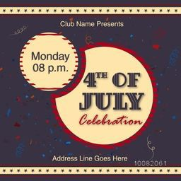 Creative Invitation Card design with date and time details for 4th of July, American Independence Day celebration.