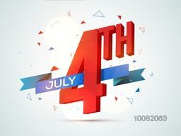 Glossy 3D Text 4th July with ribbon in Flag colors for American Independence Day celebration.