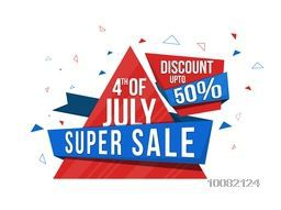 4th of July Sale, Super Sale Paper Ribbon, Sale Paper Tag, Sale Banner, 50% Discount, Creative American Flag colors illustration for Independence Day celebration.