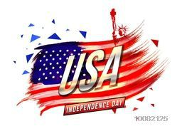 Glossy Text U.S.A on creative American Flag design background made by brush strokes for Independence Day celebration.