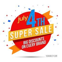 Super Sale Paper Ribbon, Sticker, Tag or Label design for July 4th, American Independence Day celebration.